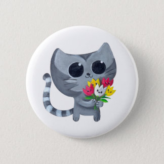 Cute Kitty Cat and flowers 6 Cm Round Badge