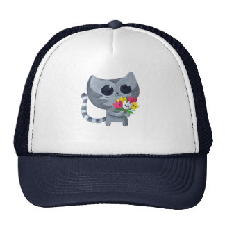Cute Kitty Cat and flowers Cap