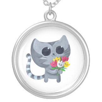 Cute Kitty Cat and flowers Personalized Necklace
