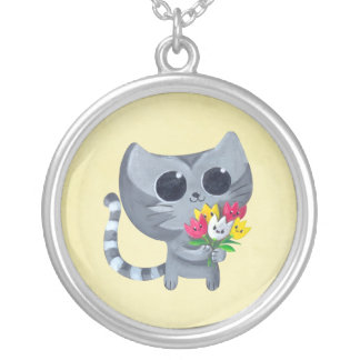 Cute Kitty Cat and flowers Jewelry