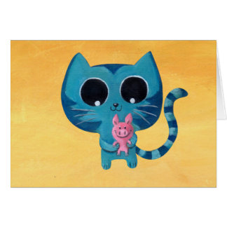 Cute Kitty Cat and Pig Greeting Card