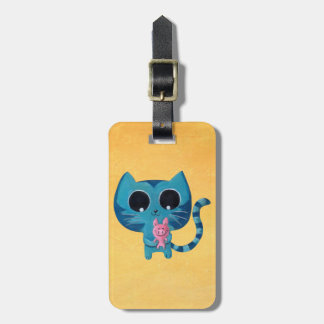 Cute Kitty Cat and Pig Luggage Tag