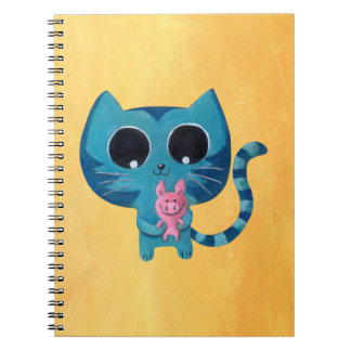 Cute Kitty Cat and Pig Notebook