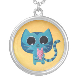 Cute Kitty Cat and Pig Round Pendant Necklace
