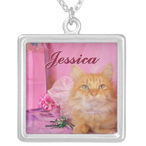 Cute Kitty Cat and Pink Necklace