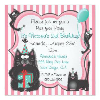 Cute Kitty Cat Birthday Party Invitation