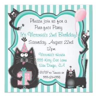 "Cute Kitty Cat Birthday Party Invitation 5.25"" Square Invitation Card"