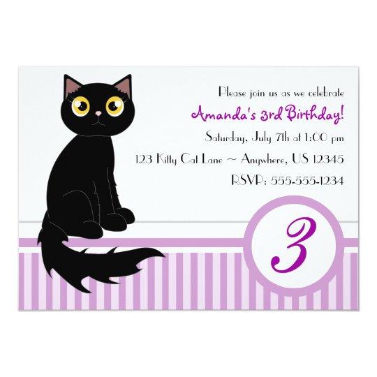 Cute kitty cat birthday party invitation purple zazzle cute kitty cat birthday party invitation purple filmwisefo