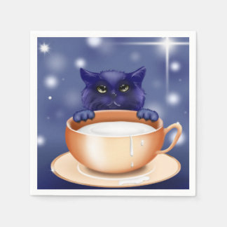 cute kitty  cat blue napkins paper napkins