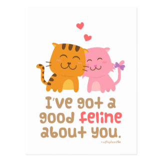 Cute Kitty Cat Feline Love Confession Pun Humor Postcard