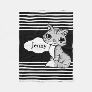 Cute Kitty Cat Fleece Blanket