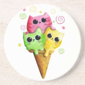 Cute Kitty Cat Ice Cream Coaster