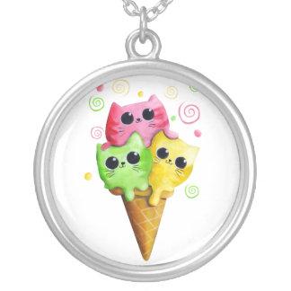 Cute Kitty Cat Ice Cream Custom Necklace