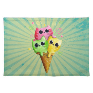 Cute Kitty Cat Ice Cream Placemat