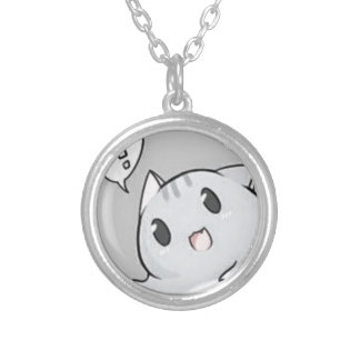 Cute kitty cat. round pendant necklace