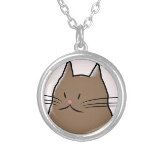 Cute Kitty Cat Round Pendant Necklace