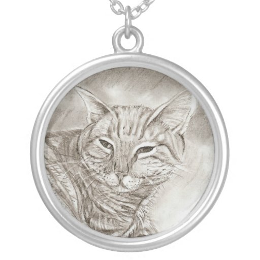cute kitty cat sketch necklace custom necklace
