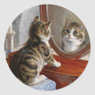 Cute Kitty Cat Vintage Painting by Frank Paton Round Sticker