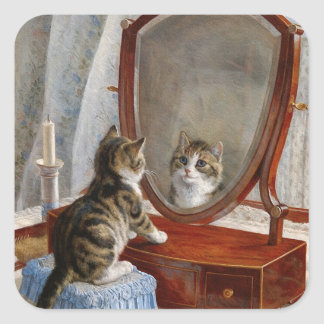 Cute Kitty Cat Vintage Painting by Frank Paton Square Sticker