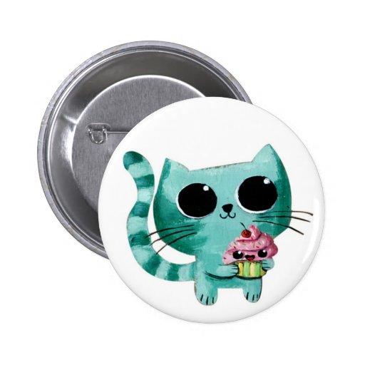 Cute Kitty Cat with Kawaii Cupcake 6 Cm Round Badge