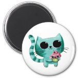 Cute Kitty Cat with Kawaii Cupcake 6 Cm Round Magnet