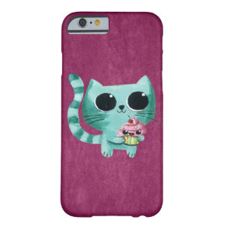 Cute Kitty Cat with Kawaii Cupcake Barely There iPhone 6 Case