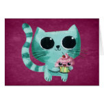 Cute Kitty Cat with Kawaii Cupcake Stationery Note Card