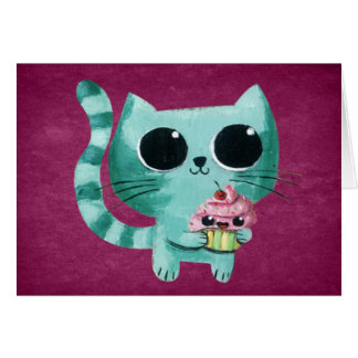 Cute Kitty Cat with Kawaii Cupcake Card