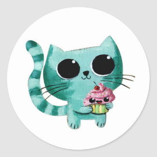 Cute Kitty Cat with Kawaii Cupcake Classic Round Sticker
