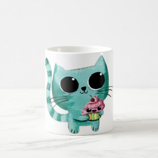 Cute Kitty Cat with Kawaii Cupcake Coffee Mug