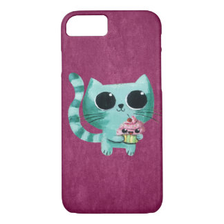 Cute Kitty Cat with Kawaii Cupcake iPhone 8/7 Case