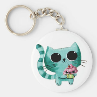 Cute Kitty Cat with Kawaii Cupcake Key Ring