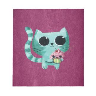 Cute Kitty Cat with Kawaii Cupcake Notepad