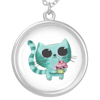 Cute Kitty Cat with Kawaii Cupcake Round Pendant Necklace