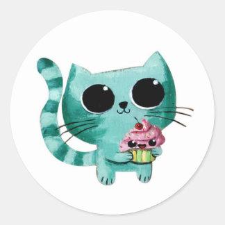 Cute Kitty Cat with Kawaii Cupcake Stickers