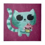 Cute Kitty Cat with Kawaii Cupcake Tile