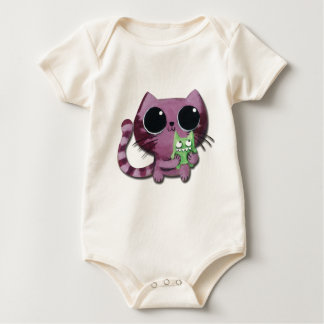 Cute Kitty Cat with Little Green Monster Baby Bodysuit