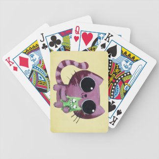 Cute Kitty Cat with Little Green Monster Bicycle Playing Cards