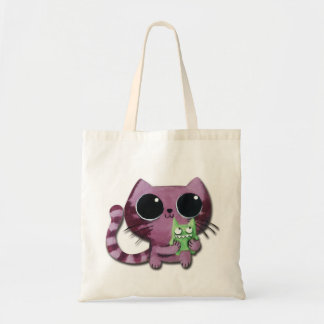 Cute Kitty Cat with Little Green Monster Budget Tote Bag