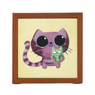 Cute Kitty Cat with Little Green Monster Desk Organiser