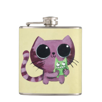 Cute Kitty Cat with Little Green Monster Hip Flask