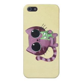 Cute Kitty Cat with Little Green Monster iPhone 5/5S Case