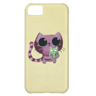 Cute Kitty Cat with Little Green Monster iPhone 5C Case