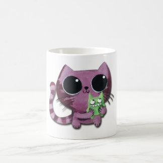 Cute Kitty Cat with Little Green Monster Coffee Mugs
