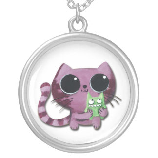 Cute Kitty Cat with Little Green Monster Round Pendant Necklace