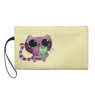 Cute Kitty Cat with Little Green Monster Wristlet