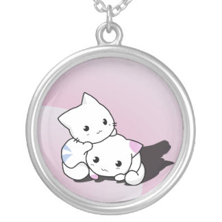 Cute Kitty Cats Round Pendant Necklace