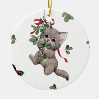 Cute Kitty Ceramic Circle Ornament