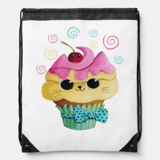 Cute Kitty Cupcake Drawstring Bag
