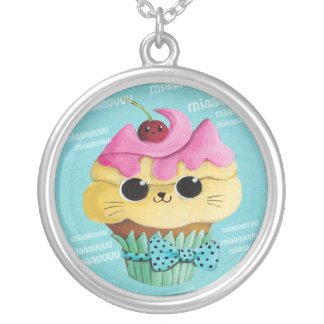 Cute Kitty Cupcake Silver Plated Necklace